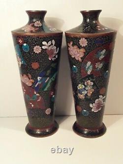 Fine Antique Japanese Cloisonne Vase Matching Pair Meiji SIGNED