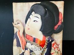 Fine Antique Japanese Geisha Girl Hanetsuki Hagoita Paddle Gold Shadow Box Frame