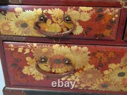 Fine Antique Japanese Gilt & Lacquered 17 Jewelry Box Dresser Chest