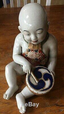 Fine Antique Japanese IMARI Porcelain Seated Boy withDrum Okimono Figure 19th c