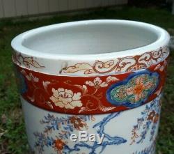 Fine Antique Japanese Imari Porcelain Floor Vase Umbrella Stand Signed