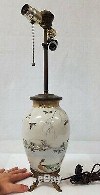 Fine Antique Japanese Porcelain Hand Painted Lamp Geese Birds Landscape