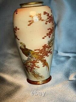 Fine Antique Japanese Satsuma Hand Painted Exotic Bird Vase Meiji Signed