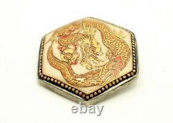 Fine Antique Japanese Satsuma Porcelain Hand Painted Dragon Pendant