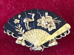 Fine Antique Japanese Shakudo Bronze Fan Brooch Meiji Period