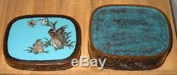 Fine Antique Japanese Silver Wire Cloisonne Enamel Box with Rooster and Hen RARE