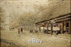 Fine Antique Japanese Sozayemon Nishimura Silk Embroidered Panel Framed