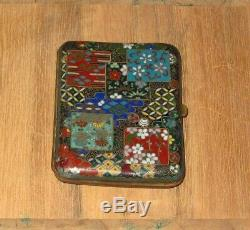 Fine Antique Meiji Japanese Cloisonne Enamel Cigarette or Card Case Box RARE