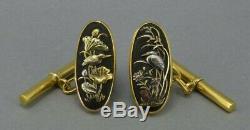 Fine Antique Meiji Japanese Shakudo Gold Cufflinks BIRDS 1900-1910