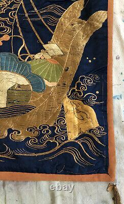 Fine Antique Meiji Japanese Silk Embroidery Panel Fukusa Hanging 36x27 Covering