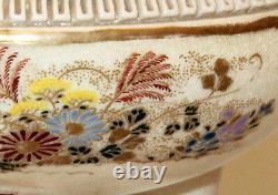 Fine Antique Satsuma Japanese Censor Koro Pierced Kyoto Pottery Meiji Signed