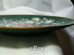 Fine Antique Silver Wire And Wireless Meiji Japanese Cloisonne Charger Exc Cond