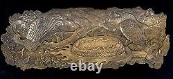 Fine Bronze 19th C. Antique Japanese Meiji Peacock Pin Pen Tray Signed