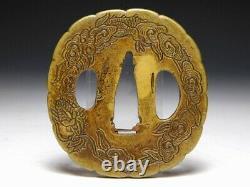Fine Carving SENTOKU Dragon TSUBA Japanese Original Edo Antique Sword fitting