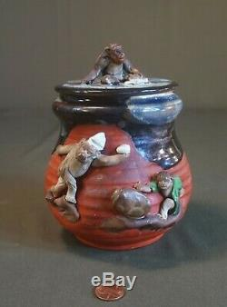 Fine Early 20th Century Japanese Sumida Gawa Jar with Lid 3 Monkeys
