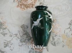 Fine Green Japanese Vase With Three Flying Cranes