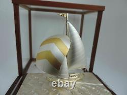 Fine Hand Crafted Signed Japanese Silver 985 Sailboat Ship Boat Takehiko Japan
