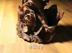 Fine Hande WOOD Carved Japanese Vase Antique japan Flower shinto Shrine buddhism