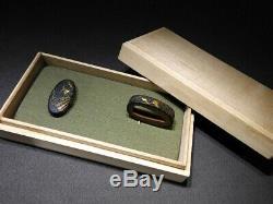 Fine Inlay KINKO FUCHI/KASHIRA Folding fans 18-19thC Japanese Original Antique