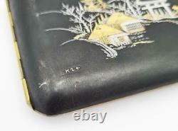 Fine JAPANESE KOMAI STYLE Inlaid DAMASCENE CIGARETTE CASE c1930 MOUNT FUJI