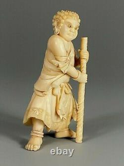 Fine Japan Japanese Carved Okimono of a Standing Warrior with Inlaid Eyes ca. 20th