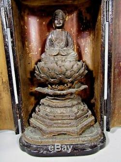 Fine Japan Japanese carved Wood Figure of the Buddha in Zushi case ca. 19-20th c
