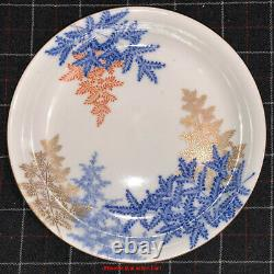 Fine Japanese 19thC Meiji Imari Fukagawa Porcelain Footed Plate Dish Fern Leaf