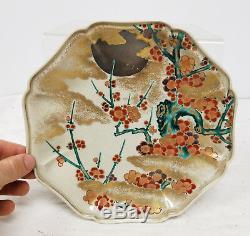 Fine Japanese Antique Kosen Kiln Kanazawa Satsuma Ko Kutani Plate Dish Signed
