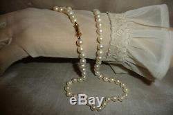 Fine Japanese Antique Vintage 14k 585 Barrel Clasp Cultured Pearl Necklace Box