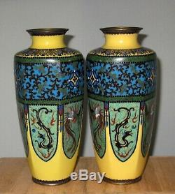 Fine Japanese Cloisonne Enamel Pair Vases with Dragon and Pheonix RARE Yellow