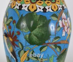 Fine Japanese Cloisonné Enamel Vase Birds Flowers Blue Ground Meiji Period