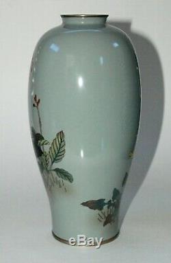 Fine Japanese Cloisonne Enamel Vase with 2 Birds Signed by Ota