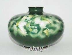 Fine Japanese Cloisonne Enamel Vase with Grapes and Leaves by the Ando Workshop