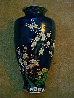 Fine Japanese Cloisonne Vase, Signed Ando, Flowers