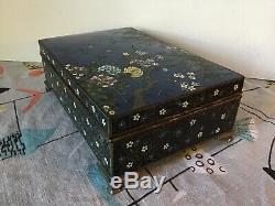 Fine Japanese Enamel Ando Jubei Cloisonne Box Case Midnight Blue Goldstone Stars