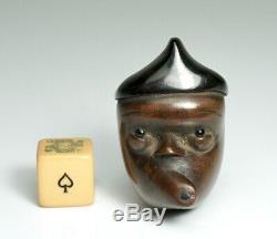 Fine Japanese Face Wood Netsuke Meiji Period