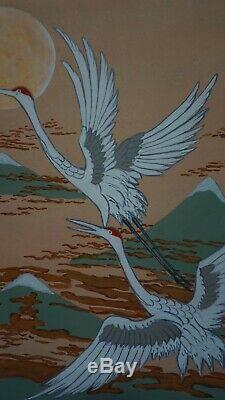 Fine Japanese Hand Painting Flying Cranes Mt. Fuji Signed