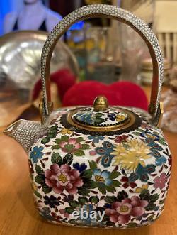Fine Japanese INABA KYOTO Cloisonne Enamel Teapot Floral Decoration
