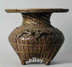Fine Japanese Ikebana Bamboo Basket W81