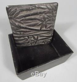 Fine Japanese Japan Iron Box with Bamboo Decoration ca. 19-20th century