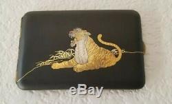 Fine Japanese Komai Kyoto Gold Inlay Iron Cigarette Case