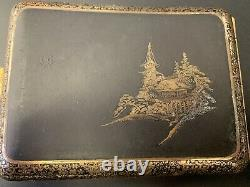 Fine Japanese Komai Style Metal Gold Inlay Cigarette Case