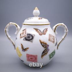 Fine Japanese Kutani Porcelain Sugar Bowl Decorated With Butterflies and Stamps