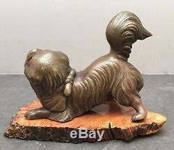 Fine Japanese Meiji Bronze Okimono Playing Dog with Ball