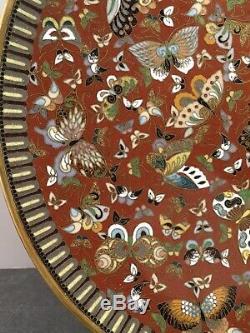 Fine Japanese Meiji Kyoto School Cloisonne Plate with Butterflies