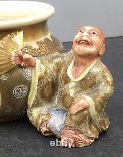 Fine Japanese Meiji Satsuma Okimono Man With Vase