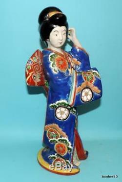 Fine Japanese Porcelain Large Antique 19thc Kutani Gild Geisha Statues Figurine