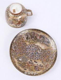 Fine Japanese Satsuma Cup Saucer by Hozan Matsumoto Meiji