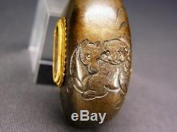 Fine KURIKATA 18-19th C Japanese Edo Antique Koshirae fitting Horse & Dog e175