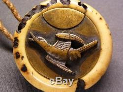 Fine Kagamibuta NETSUKE 18-19th C Japanese Edo Antique Bird & Moon e331